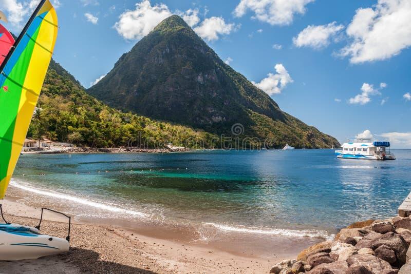 Beach on St. Lucia stock image