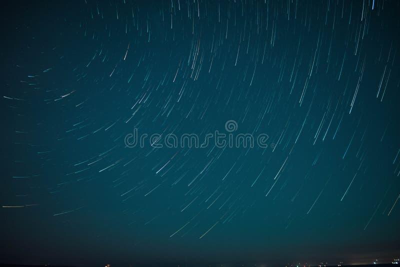 Beach Star Trails In Melbourne stock photo