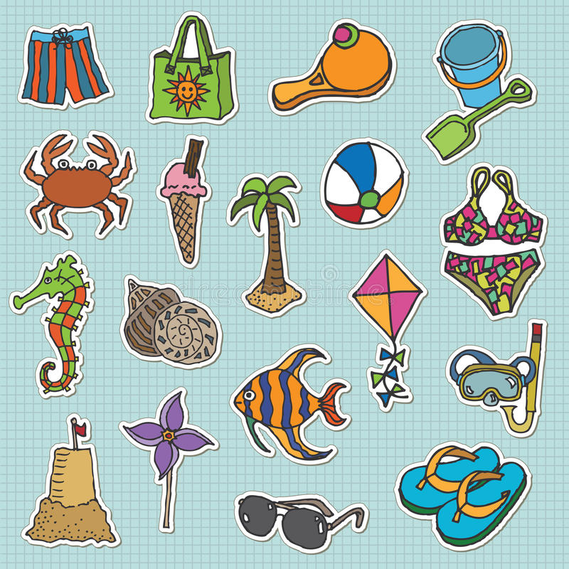 Free Beach Stickers Stock Photography - 9508782