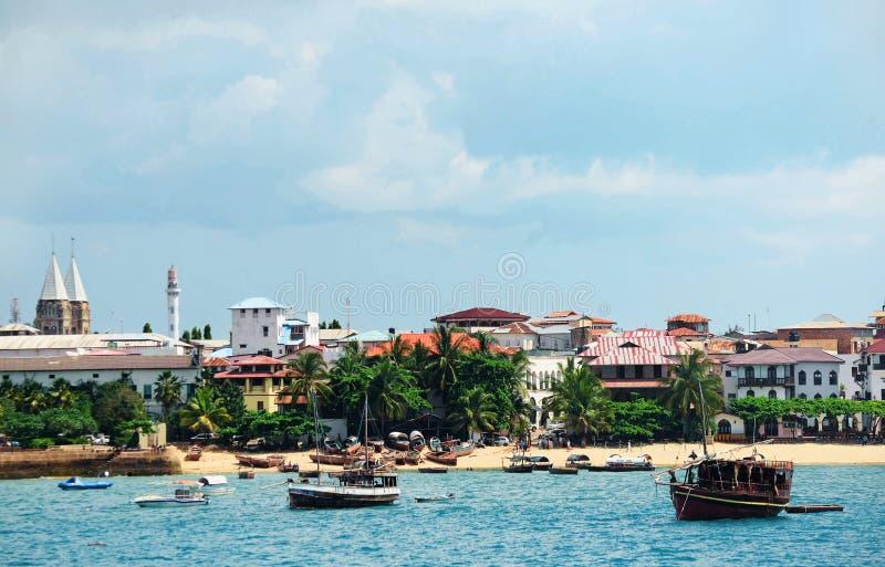 Beach in the stone town on the island of Zanzibar stock photos