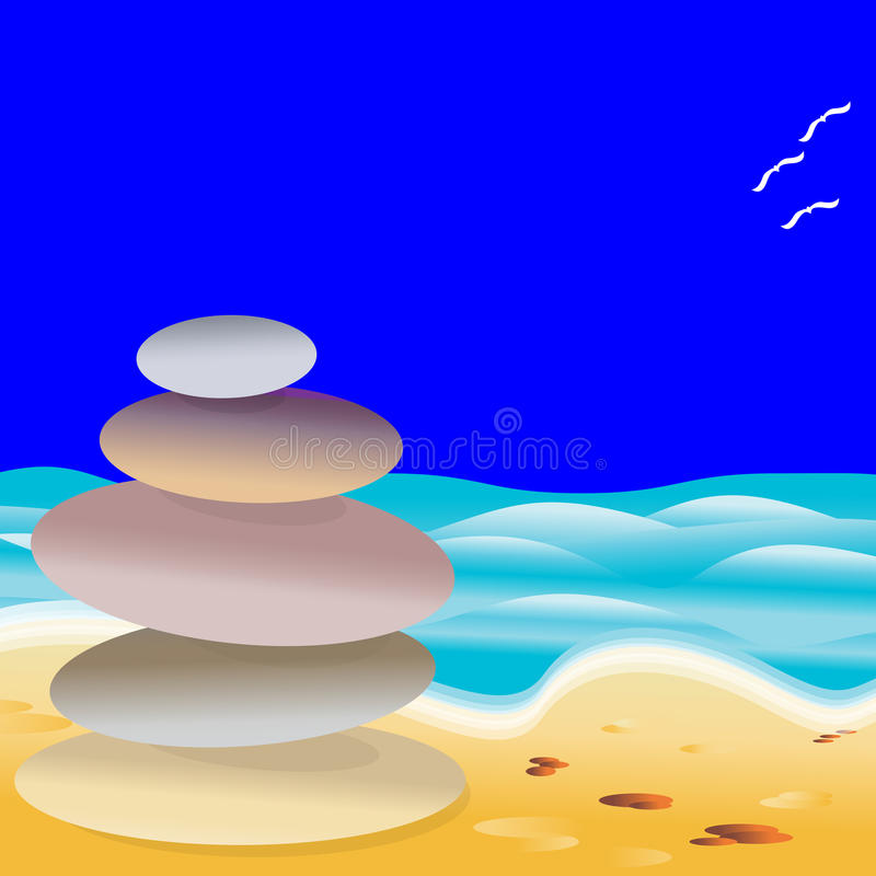 Download Beach Stones stock vector. Image of spiritual, meditation - 25963659