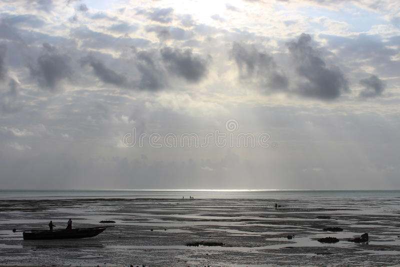 Beach after a storm stock photography