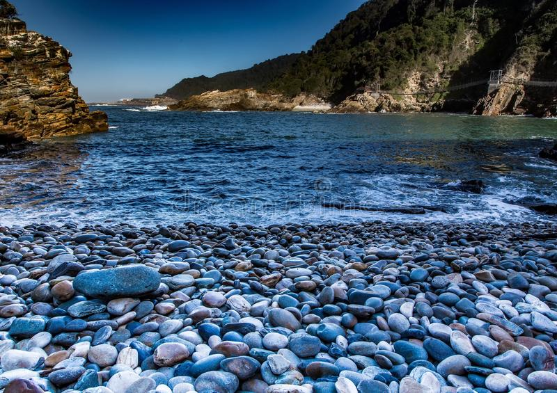 Beach at the Storms River Mouth at the Indian Ocean. In South Africa stock image