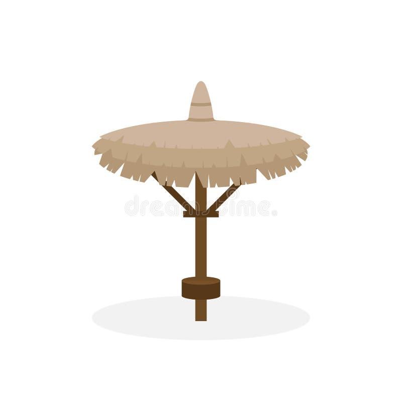 Beach straw umbrella in flat style. Straw sunshade. Vector illustration royalty free stock photos