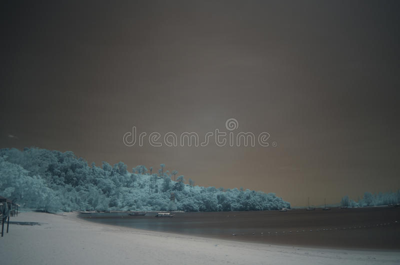 Beach strip, infra-red, long exposure stock photography