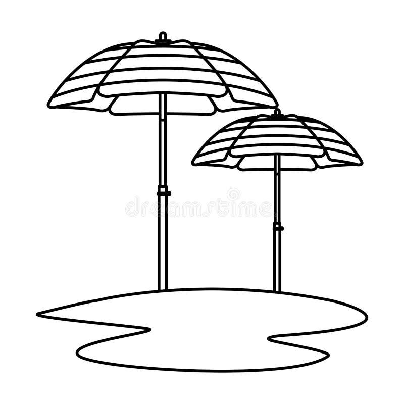 Beach striped umbrellas open in sand in black and white. Beach striped umbrellas open in sand ,vector illustration graphic design stock illustration