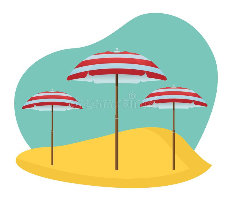 Beach striped umbrellas open in sand. In the beach scenery background ,vector illustration graphic design royalty free illustration