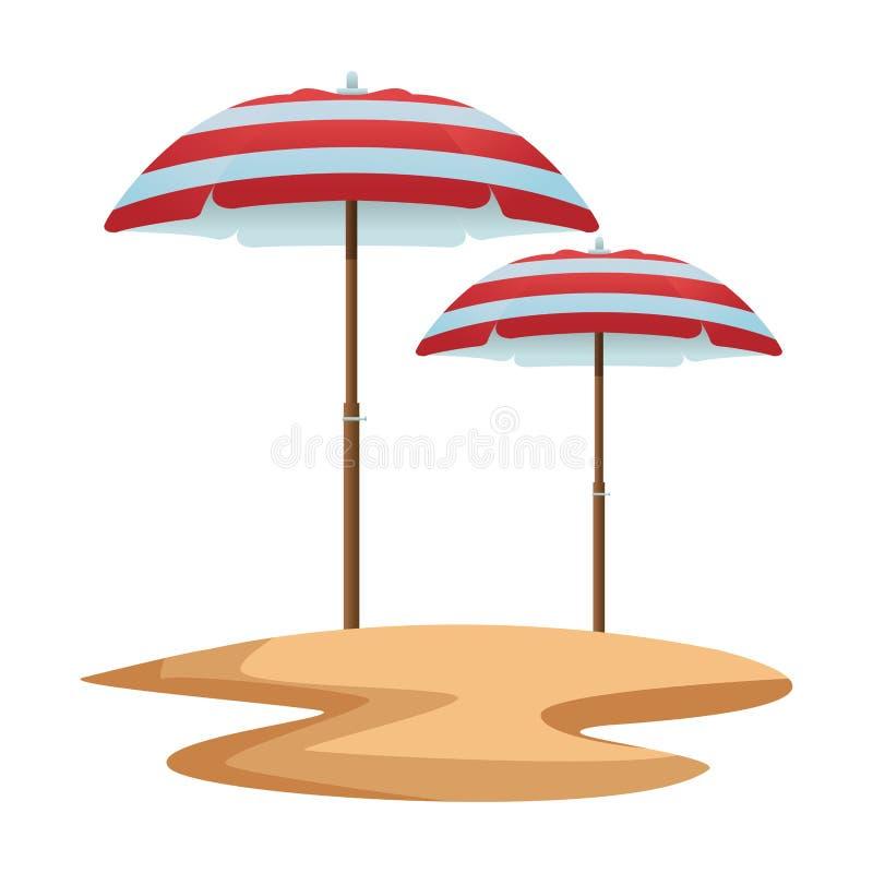 Beach striped umbrellas open in sand. Vector illustration graphic design royalty free illustration