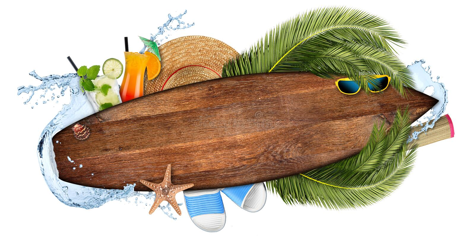 beach summer cocktail bar concept tourism background empty wooden surfboard royalty free illustration
