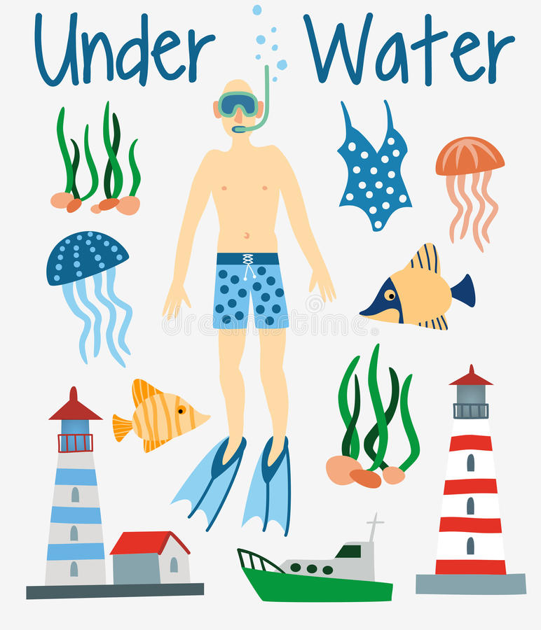Beach Summer Flat Icons Set. Hand Drawn Vector Illustration royalty free illustration