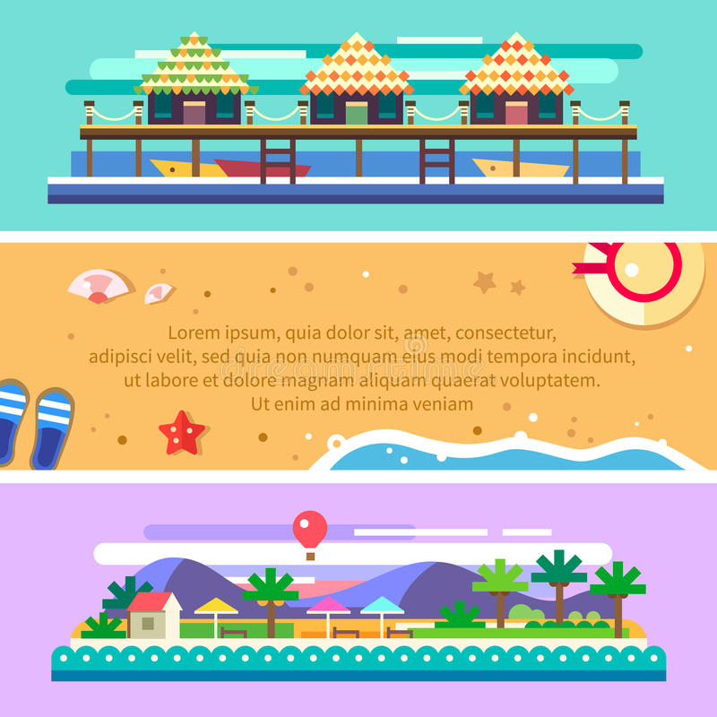 Beach summer landscape. Ocean, boats, sun, palms vector illustration