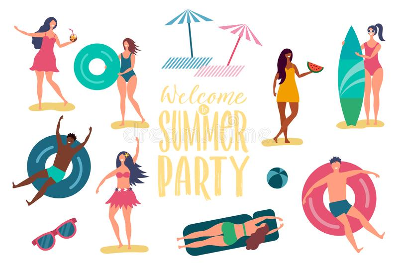 Beach summer party vector characters. International happy relaxing people isolated on white background stock illustration