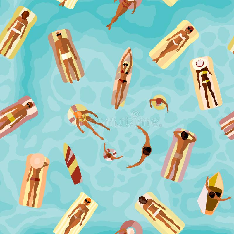 Beach summer pattern. Surfing and swimming people royalty free illustration