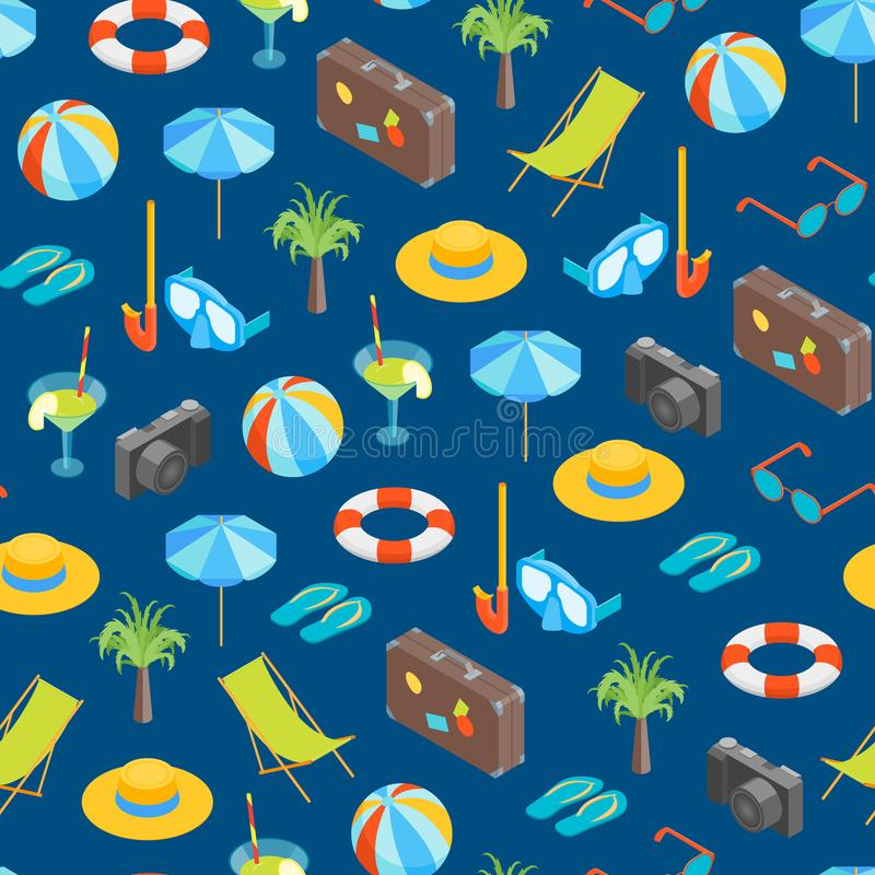 Beach Summer Rest Seamless Pattern Background Isometric View. Vector vector illustration