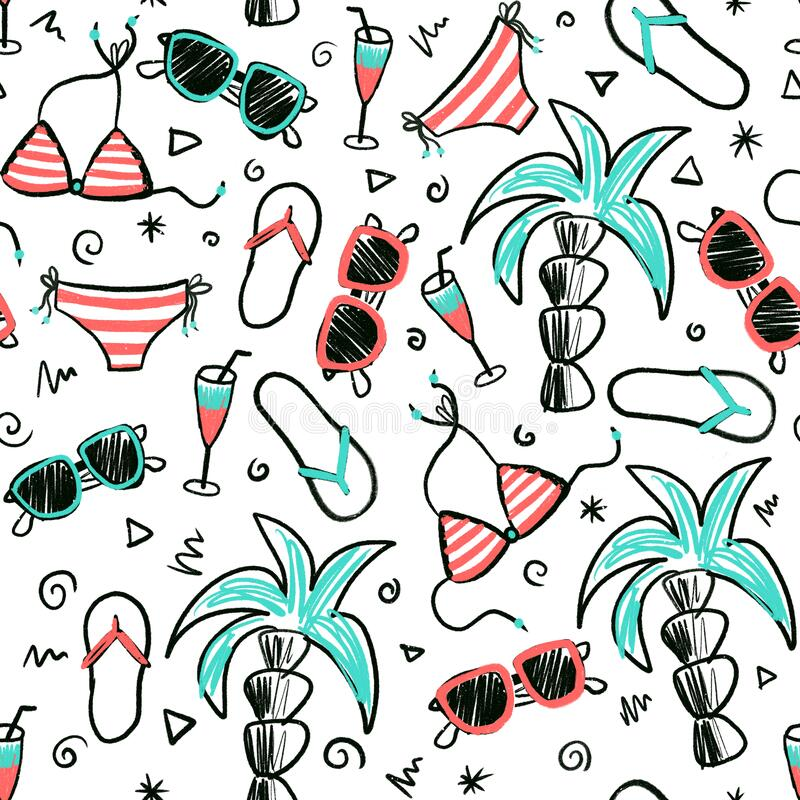Beach summer seamless doodle pattern. Hand drawn cartoon style background with palm trees, sunglasses, bikini, flip.  vector illustration
