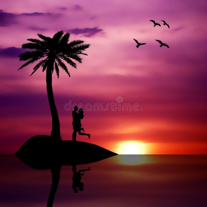 Beach Summer Sunset Love Isolated Couple Stock