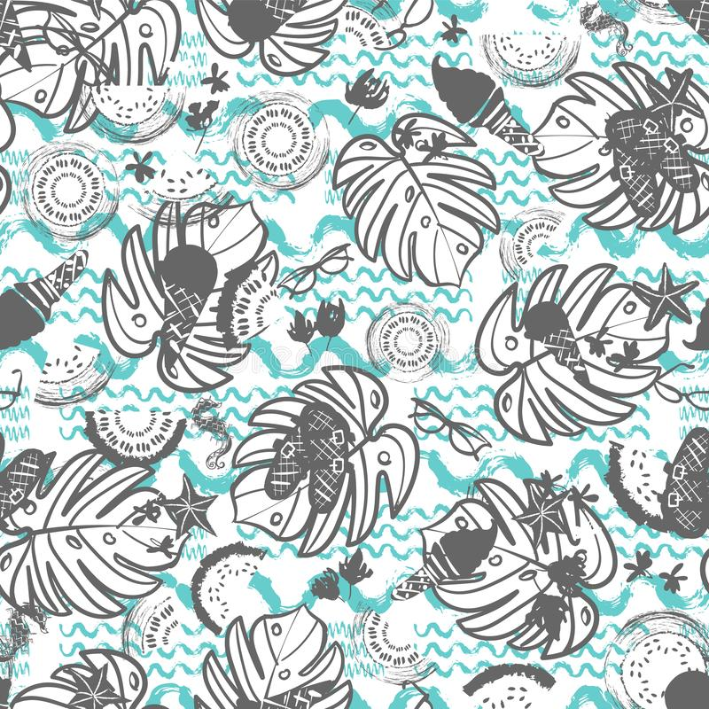 Beach summer vacation seamless vector pattern. White, grey and blue vintage style vector illustration
