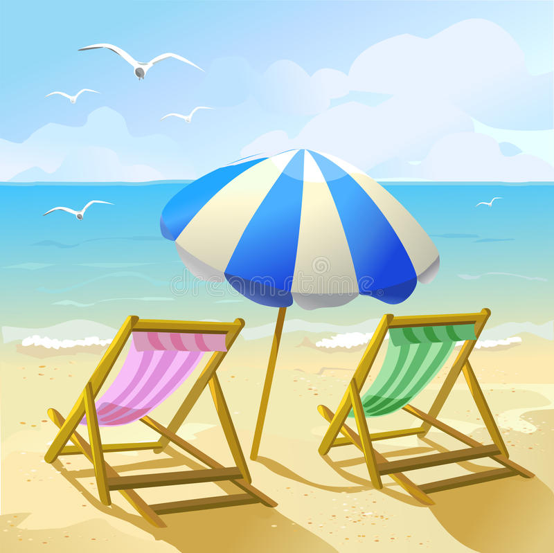 Beach with sun umbrella and two lounge chairs stock illustration