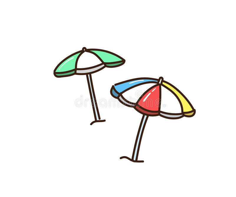 Beach Sun umbrellas. Vector hand drawn doodle icon illustrations vector illustration