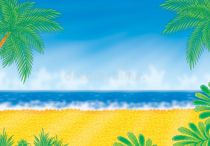 Beach in sunny day. The gold beach with the palms and blue sea in the one fine sunny day vector illustration