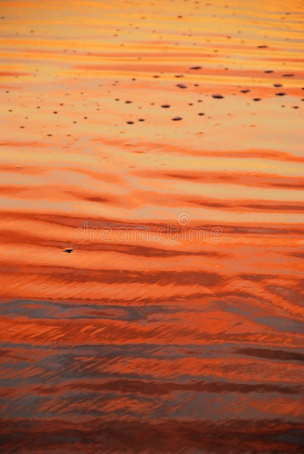 Beach with sunrise colors royalty free stock photography