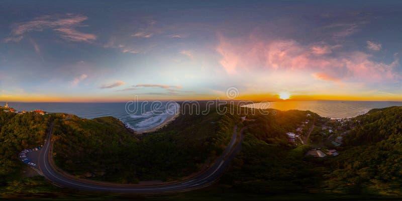 Beach sunrise 360 degree vr panorama. Aerial summer beach 360 degree vr panorama stock image