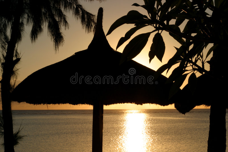 Beach sunset royalty free stock image