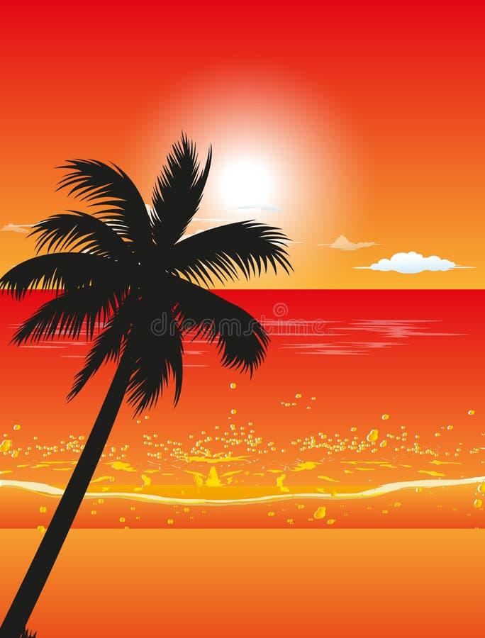 Beach Sunset Background royalty free illustration