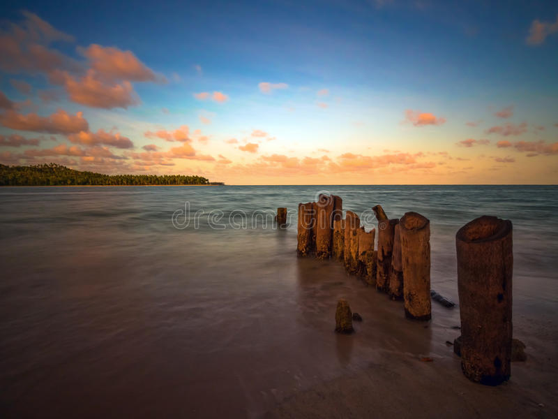 Beach at the sunset royalty free stock photo