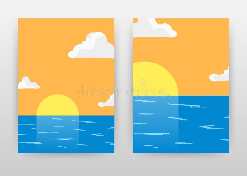 Beach sunset landscape business design for annual report, poster. Landscape of sun, sea, clouds, orange blue background vector royalty free illustration