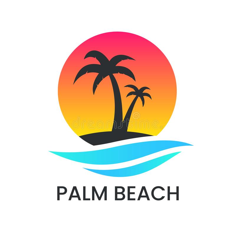 Beach sunset logo on white backdrop. Palm tree silhouette and blue wave. Vacation logotype. Travel agency template stock illustration