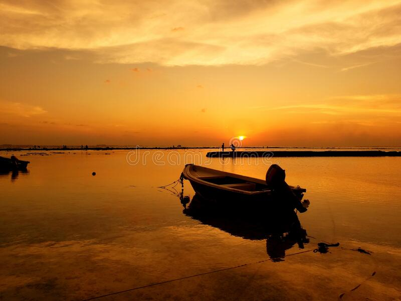 Beach sunset in Maldives royalty free stock image