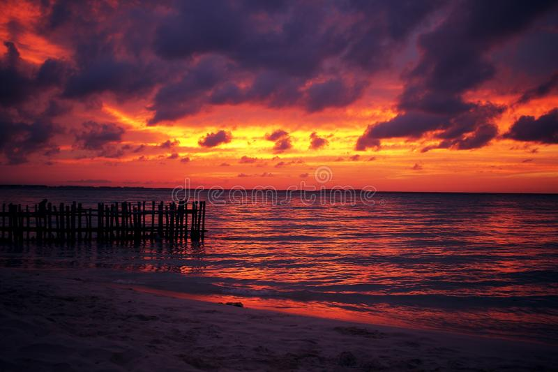 Beach Sunset. At Playa Norte on the island of Isla Mujeres, Mexico royalty free stock image