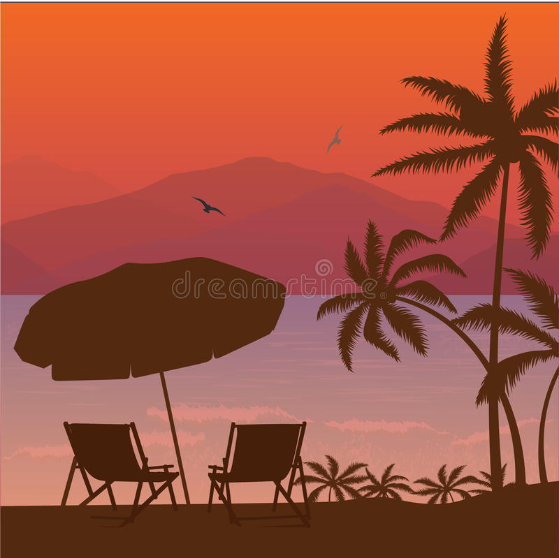 Free Beach Sunset Two Chair Palm Tree And Umbrella Silhouette Royalty Free Stock Image - 74308966