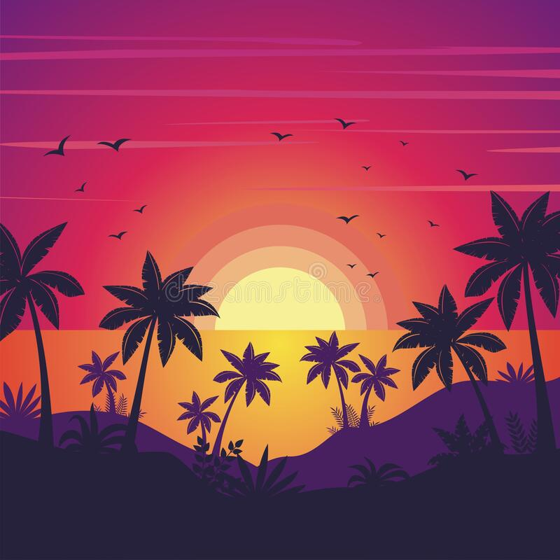 Free Beach Sunset With Silhouette Of Palm Trees Landscape Background Royalty Free Stock Images - 180661439