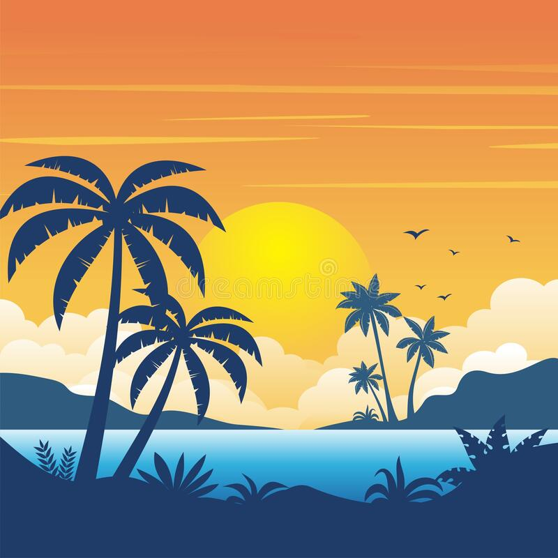 Free Beach Sunset With Silhouette Of Palm Trees Landscape Background Royalty Free Stock Images - 180661459