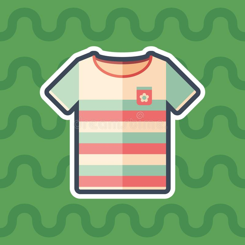 Beach t-shirt sticker flat icon with color background. royalty free illustration
