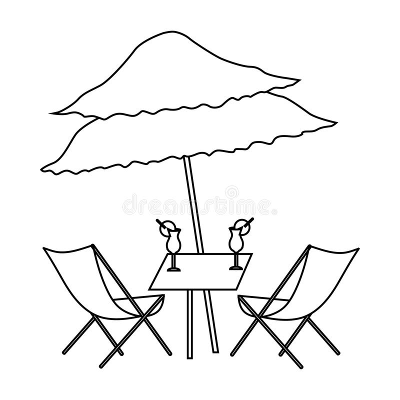 Beach table with cocktails icon, outline style royalty free illustration