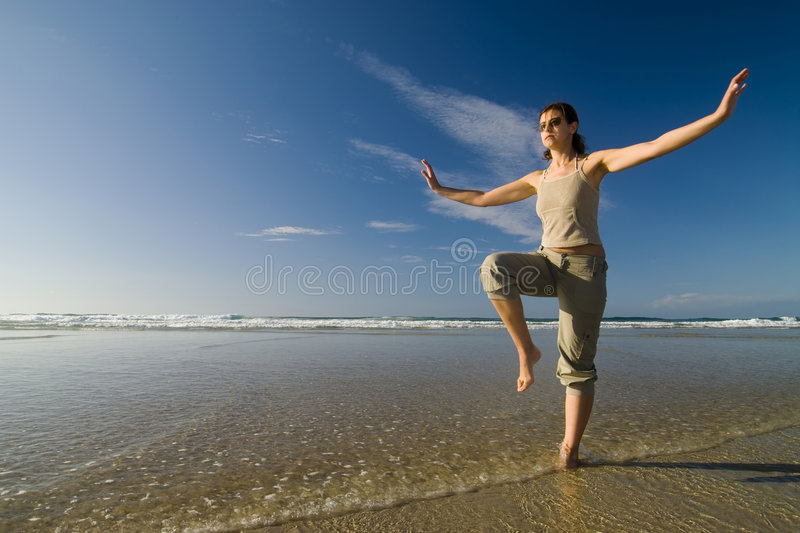 Beach taichi royalty free stock images
