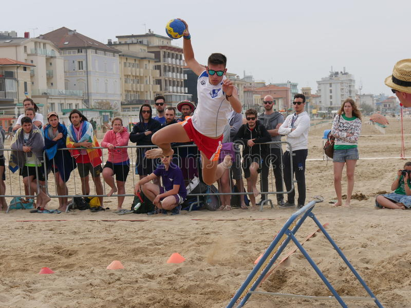 Beach Tchoukball Festival 2016. The final match Slam category between `Gianni e gli old`n Bald` and `Unable to find a Name royalty free stock photography