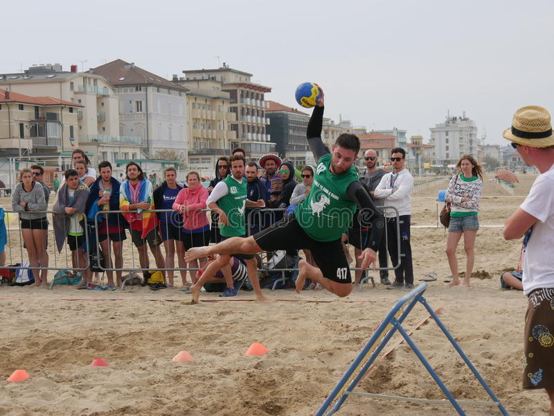 Beach Tchoukball Festival 2016. The final match Slam category between `Gianni e gli old`n Bald` and `Unable to find a Name stock photos
