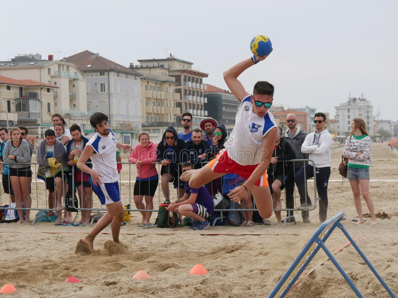 Beach Tchoukball Festival 2016. The final match Slam category between `Gianni e gli old`n Bald` and `Unable to find a Name royalty free stock photo