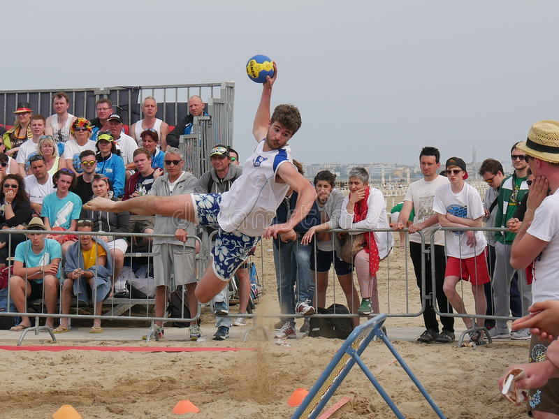 Beach Tchoukball Festival 2016. The final match Slam category between `Gianni e gli old`n Bald` and `Unable to find a Name stock image