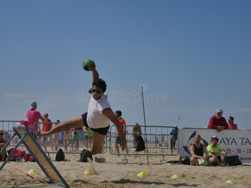 Beach TchoukBall Festival 2018 - Open. Athletes playing in Beach Tchoukball Open Tournament. The final match : Giovani Fuori Classe Vs. Thereferisti Beach stock photography