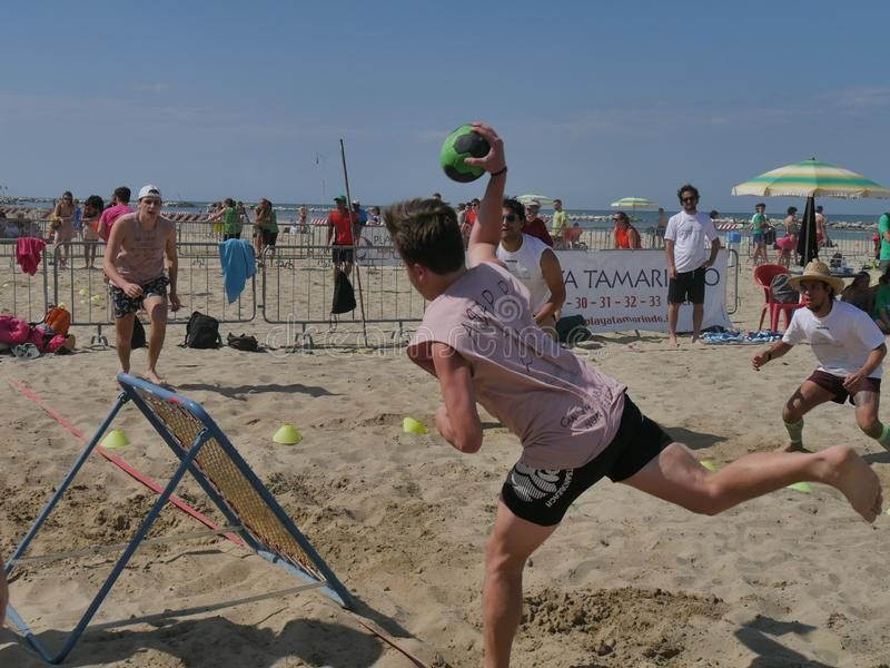 Beach TchoukBall Festival 2018 - Open. Athletes playing in Beach Tchoukball Open Tournament. The final match : Giovani Fuori Classe Vs. Thereferisti Beach stock images