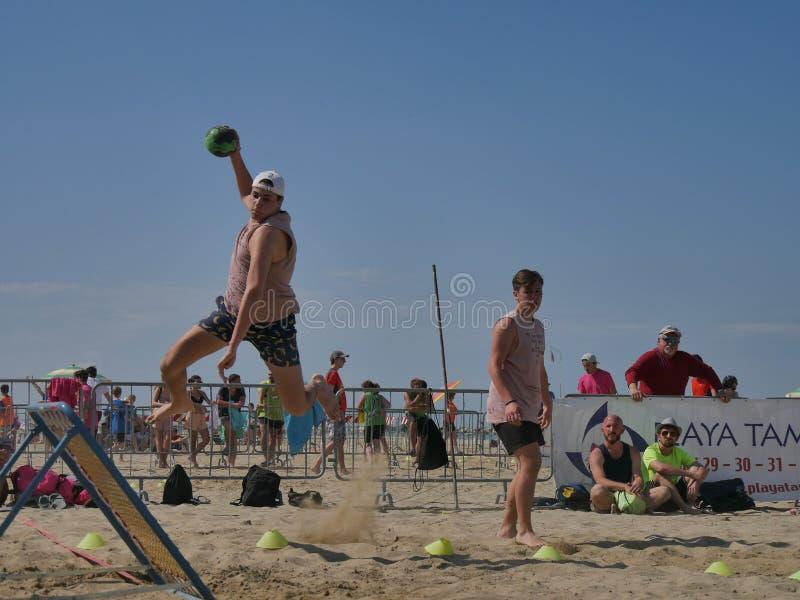 Beach TchoukBall Festival 2018 - Open. Athletes playing in Beach Tchoukball Open Tournament. The final match : Giovani Fuori Classe Vs. Thereferisti Beach stock photo