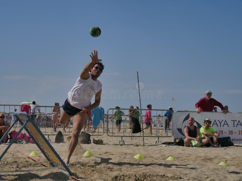 Beach TchoukBall Festival 2018 - Open. Athletes playing in Beach Tchoukball Open Tournament. The final match : Giovani Fuori Classe Vs. Thereferisti Beach stock photos