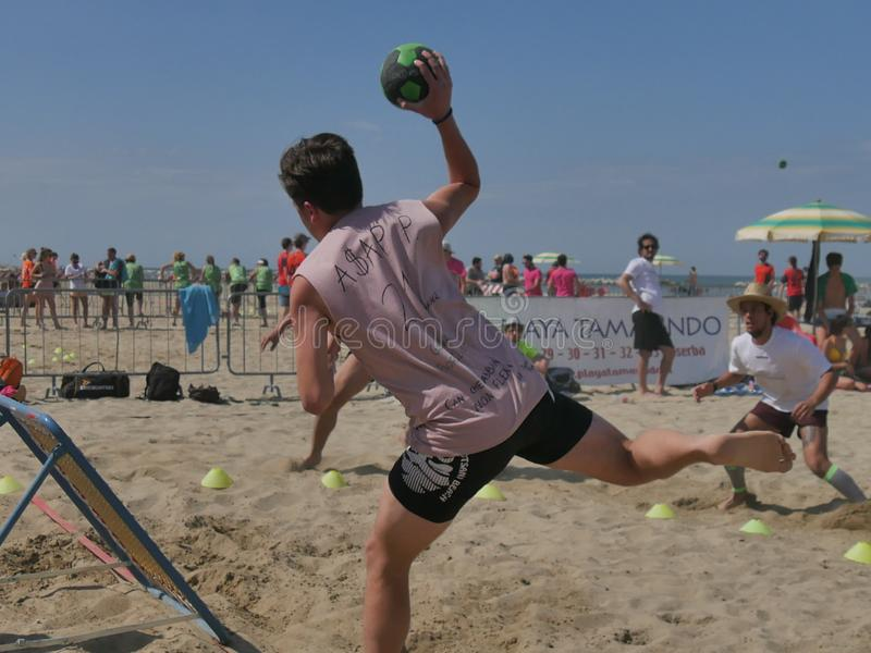 Beach TchoukBall Festival 2018 - Open. Athletes playing in Beach Tchoukball Open Tournament. The final match : Giovani Fuori Classe Vs. Thereferisti Beach royalty free stock photo