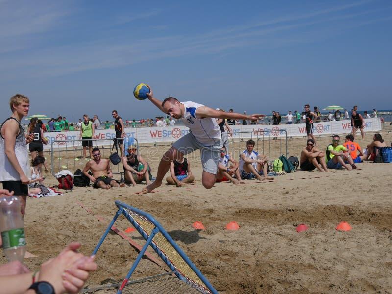 Beach Tchoukball Festival 2016. The semi final match Slam category between `Maialdamar` and `Omega stock photo