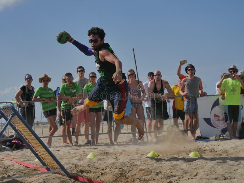 Beach TchoukBall Festival 2018 - Slam. Athletes playing in Beach Tchoukball Slam Tournament. The final match : The Zeroes Vs. De Chit Beach TchoukBall Festival stock photo